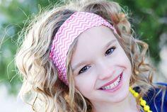 Pink and white chevron thin headband - BBT Style