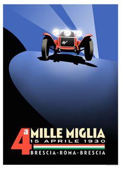 Mille Miglia 1930 Alfa Romeo Poster