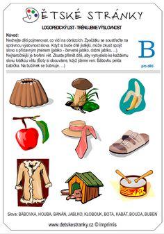 logopedický list B - děti Fine Motor, Preschool, Jar, Education, Kid Garden, Kindergarten, Onderwijs, Learning, Fine Motor Skills