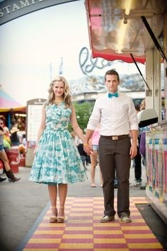 1950s themed carnival engagement shoot.