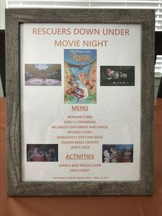 The Rescuers Down Under Menu - The Rescuers Down Under Movie Night - Disney Movie Night - Family Movie Night
