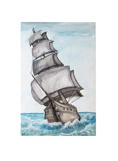 Tall Ship Watercolor Ocean Painting Sea Art by TheLittleGreyRabbit