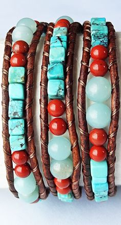 Turquoise Cubes, Amazonite and Red Jasper Brown Leather Wrap Bracelet #southwest #turquoise