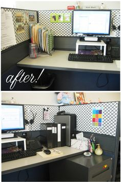Cubicle Redo-Before and After – little silver stars Cute Cubicle, Work Cubicle Decor, Work Desk Decor, Cubicle Ideas, Office Cubicle Design, Cubicle Decorations, Work Office Design, Office Style, Office Cube