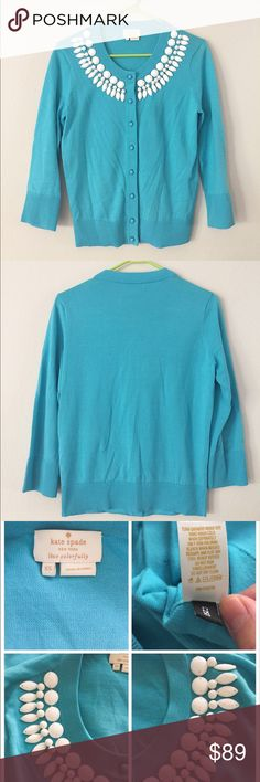 Kate Spade beaded cardigan/sweater SZ XS Beautiful Kate spade beaded cardigan/sweater! Worn once, EUC. Turquoise color. Beautiful!!! Size XS.                                                            ❌no trade ❌no lowballing offers!!! kate spade Sweaters Cardigans