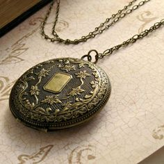 Engraved Large Locket Necklace Vintage by laurenblythedesigns, $28.00