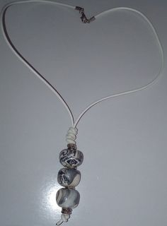 """Halskette """"triple"""" Halsschmuck Band, Pendant Necklace, Holiday, Christmas, Handmade, Gallery, Jewelry, Grey And White, Special Gifts"""