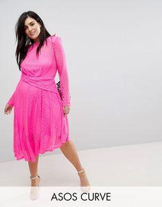 ASOS Curve | ASOS CURVE Neon Lace Asymmetric Hem Midi Dress