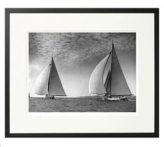 """New York Times Archive Framed Photography, Yacht Racing in Falmouth - 1934, 24 x 20 """", Black"""