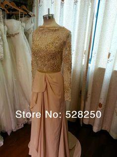 Sparkle Elie Saab Gown Real Made High Neck Sheath Long Sleeve Beaded Diamond Long Chiffon Slit Side Prom Dress Custom Made