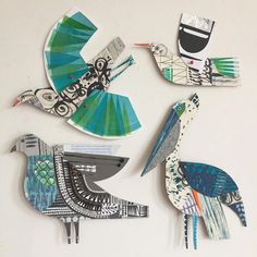 Some of my birds. I seem to have quite a few in my collection. #paperartist #collageart #collageartist #printandpattern #paperbird #artistsoninstagram #paperart