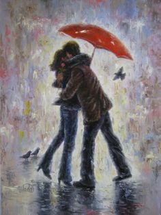paintings of umbrellas | ... art, prints, paintings, kissing, red umbrella, umbrellas, hugging