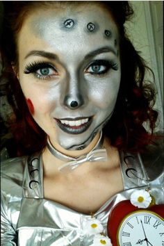 Close up of my Tin Woman makeup for my Halloween costume. (Thanks for a tutorial from YouTube)