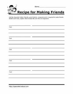 Free worksheets for social skills and peer relationships. Social skills lessons. Character worksheets.
