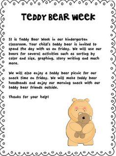 Teddy Bear Week for kindergarten
