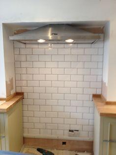 Chimney Brest tiling in preparation for the cooker Cottage Kitchen Tiles, New Kitchen, Kitchen Ideas, Kitchen Inspiration, Kitchen Stuff, Luxury Kitchen Design, Interior Design Kitchen, Cooker In Chimney Breast, Kitchen Chimney