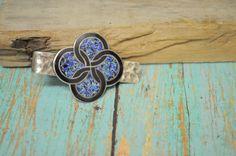 Vintage Tie bar Good fortune Celtic symbol tie clip interlocking circles blue black LZ1502 Celtic by Andiesvintage on Etsy