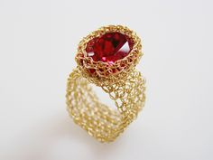 Swarovsky Ring, Crochet Gold Wire, Wide Band Ring, Red Oval Swarovsky Crystal, Wire Wrapped, Wire Crochet Jewelry. $49.00, via Etsy.