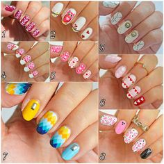 Which is your favorite nail art, which one would you wear on your pretty hands 😀 #notd #nails #nailart #nailpolish #nailsdesign