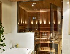 Sauna – a nice private spa area in the bathroom Portable Steam Sauna, Sauna Steam Room, Sauna Room, Loft Bathroom, Narrow Bathroom, Saunas, Home Spa Room, Sauna Design, Finnish Sauna