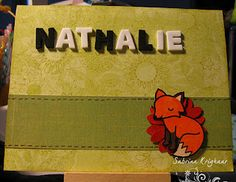 Handmade invitation with a stamped fox.