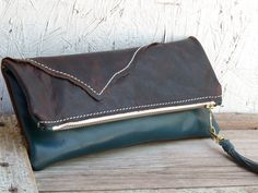 Clutch purse leather Fold over clutch Rustic brown by FeralEmpire, $62.00