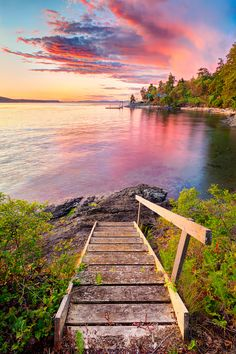Orcas Island Beach Stairs at Sunset by Justin Schmauser, via 500px