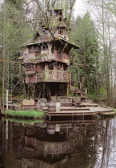 This is my favorite treehouse, the Redmond Treehouse in Redmond, Washington. It is featured on the cover of Pete Nelsons book, Treehouses of the World. It is so organic and has grown in such a random, seemingly un-designed fashion. Being in this place would give one so much inspiration and a great sense of being at one with nature. Steve Rondels children grew up before he could finish. He started it 20 years ago - now he is looking for grandchildren to give him an excus