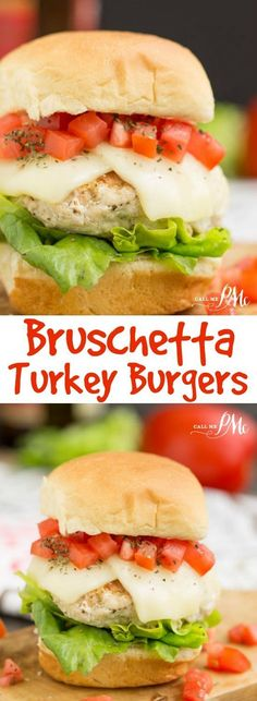 Burger recipe - Bruschetta Turkey Burger Sliders ground turkey burgers are topped with the classic tomato bruschetta and mozzarella cheese and balsamic mayonnaise.