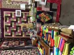 Wool appliqué is made new and modern by using bright and vibrant hand dyed wools, featured in the Vintage & Vogue booth at the Vermont Quilt Festival June 2014.