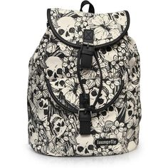 Loungefly Canvas Black/White Floral Skull Backpack (£38) ❤ liked on Polyvore featuring bags, backpacks, backpack, day pack backpack, backpack bags, skull bag, loungefly backpacks and floral rucksack