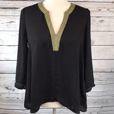 Daniel Rainn black chiffon blouse M