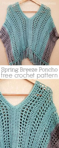 Spring Breeze Crochet Poncho Spring Breeze Poncho Crochet Pattern - This Spring Breeze Poncho is a little shorter than your typical poncho, with an open and airy pattern. Since it's spring, I didn't want anything too heavy. Crochet Poncho Patterns, Crochet Shawls And Wraps, Crochet Scarves, Crochet Clothes, Crochet Stitches, Shawl Patterns, Crochet Edgings, Knitted Shawls, Crochet Motif