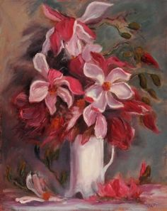 "Magnolias in vase by Catherine Fasciato Oil ~ 20"" x 16"""