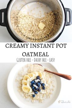 Learn how to make creamy Instant Pot oatmeal then load up those velvety oats with all your favorite toppings for the perfect breakfast breakfast instantpot glutenfree Healthy Foods To Make, Healthy Eating Recipes, Clean Eating Snacks, Gourmet Recipes, Instant Pot Oatmeal Recipe, Oatmeal Recipes, Oatmeal With Almond Milk, Oatmeal With Milk Recipe, Gluten Free Oatmeal