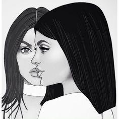 Art, illustration, drawing, kylie, kendall, jenner, kardashian, pacsun, luluandiris