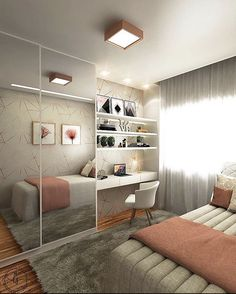 Small Room Design Bedroom, Small Bedroom Interior, Teen Bedroom Designs, Bedroom Closet Design, Room Ideas Bedroom, Home Room Design, Home Decor Bedroom, Aesthetic Bedroom, Dream Rooms