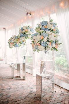 Wedding Flowers: Soft Blue Hues with Pops of Peach at Decatur House in Washington, D.C. » Sweet Root Village Blog