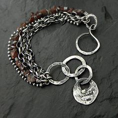 Sterling silver and raw garnet - bracelet