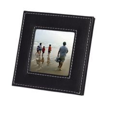 Square Leatherette Photo  Frame Features Leatherette Finish White Contrast Stitching Holds 7.5cm x 7.5cm Photo