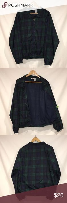 VTG Jerzeez Plaid Windbreaker It's poppin'.  It's clean.  It's blue dream and green!  Add this vintage 90s windbreaker to your closet.  Features 100% nylon shell coated in polyurethane to help improve water resistance, 100% nylon sleeve lining, and 100% polyester netting lining the body. Jerzeez Jackets & Coats Windbreakers
