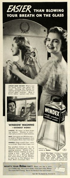 Windex, 1937  grinning like a fool about washing windows.