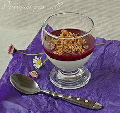 Panna cotta violette / coulis cassis / crumble citron - Sirop Monin