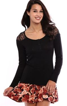 Deb Shops Long Sleeve #Henley Top with #Lace Shoulders $15.75