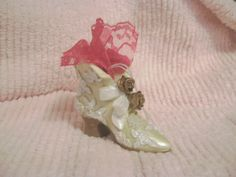 Chic Victorian Opalescent White High Heel Shoe Boot Gold Roses Pink Lace Bows Home Decor Hanger Ornament Shabby Cottage Paris OhhLaLa by VintageChicPleasures on Etsy