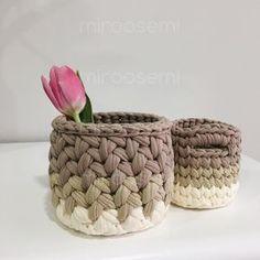 ❌продано❌  ______  #miroosemi #корзины #корзинка #корзинкадляинтерьера #интерьер #ручнаяработа #хэндмэйд #трикотажнаяпряжа #корзинкадлямелочей #корзинкакрючком #knit #knitting