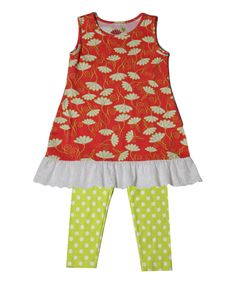 Green Nikki Ruffle Tunic & Leggings - Infant Toddler & Girls