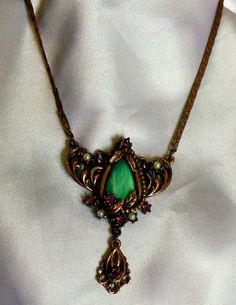 Art Deco Necklace Gold on Copper with Green by VJSEJewelsofhope, $60.00