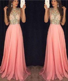 c7d70b9efe1 Pink Beading Chiffon Long Prom Dress A-line Sleeveless Evening Gowns Custom  Made Prom Dress