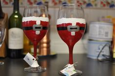 Santa wine glasses :)